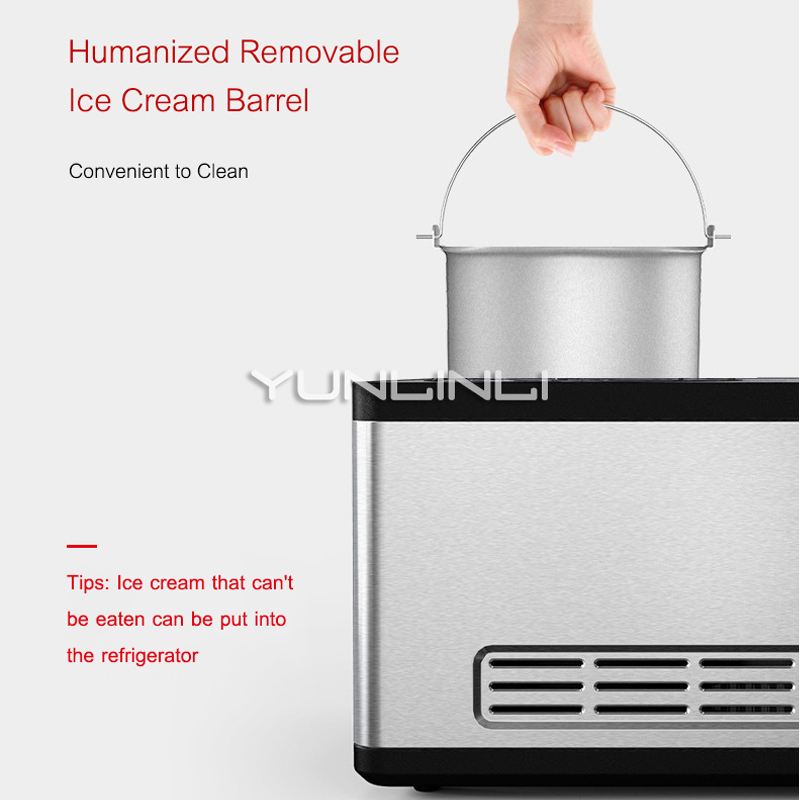 YUNLINLI Full Automatic Household 1.5L Ice Cream Maker for Quick Refrigeration made of Stainless Steel with One Button Operation and Removable Barrel 3