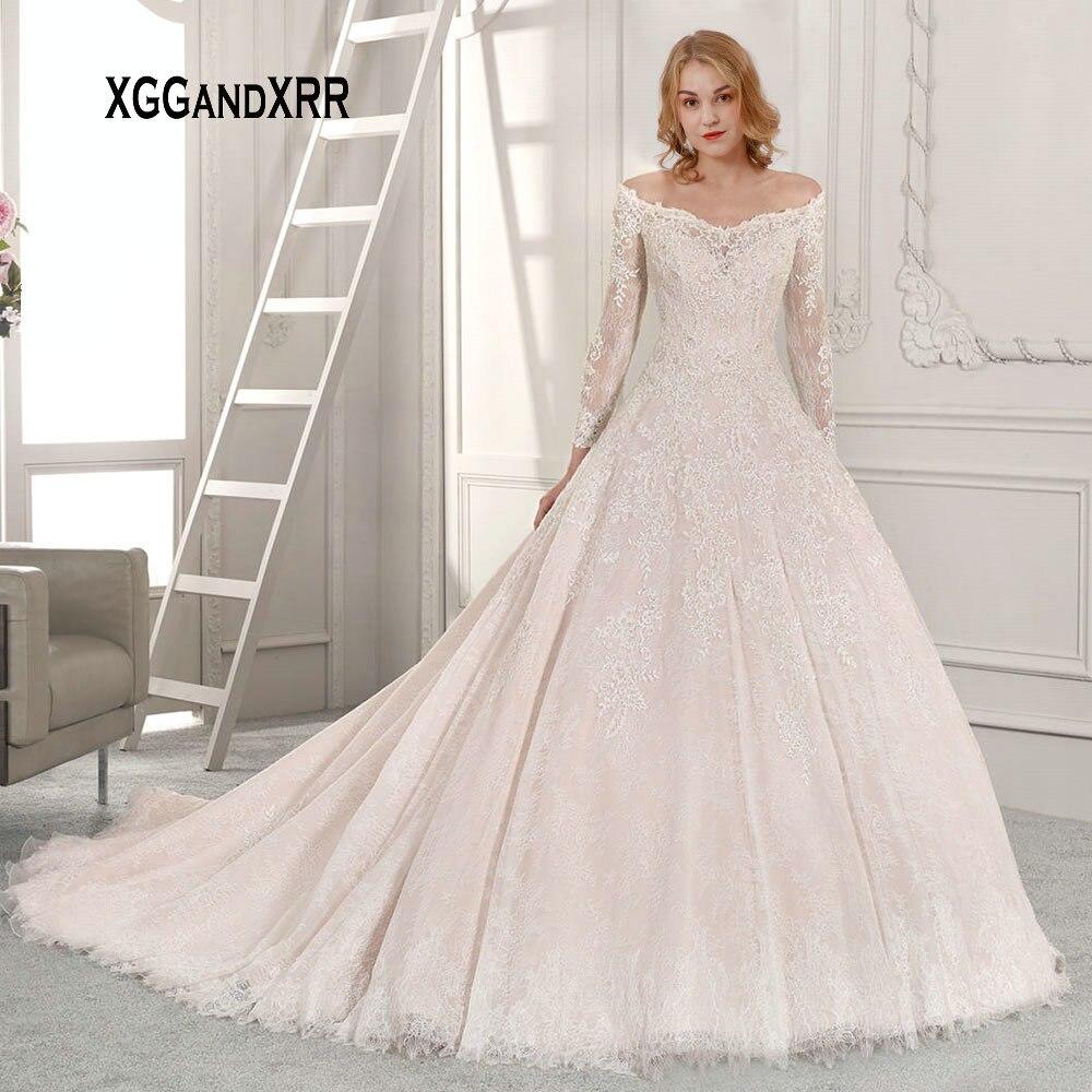 Romantic Wedding Dresses 2019: Romantic A Line Lace Wedding Dress 2019 Long Sleeves