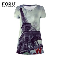 FORUDESIGNS Bán Buôn Phụ Nữ Ăn Mặc 3d Tháp Eiffel Người Phụ Nữ Sexy Maxi Dresses Cho Em Gái Bãi Biển Mùa Hè Ngắn Nữ Ăn Mặc Vestidos S M
