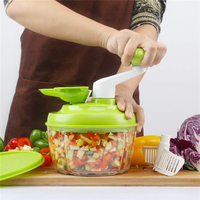TTLIFE Manual Food Chopper Kitchen Easy Hand Pull Vegetable Cutters Handheld 3 Blades Food Blender