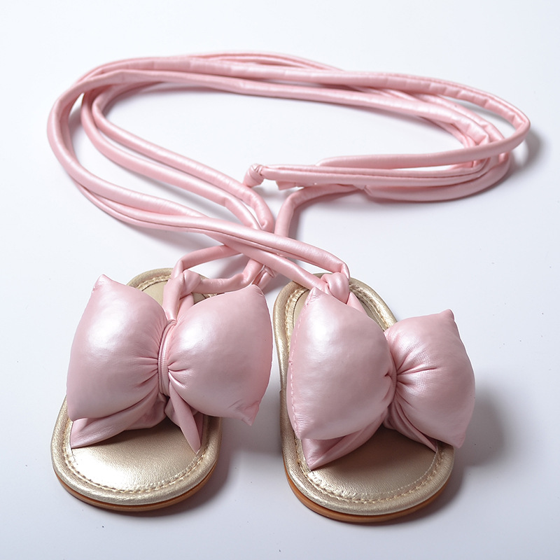 In The Summer New Children`s Shoes Cute Butterfly-knot Rome Shoes Big Bows Toddler Shoes