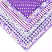 6Pcs 25cmx25cm Purple Random Floral Cotton Printed Fabric Sewing Quilting Fabrics for Patchwork Needlework Handmade Material pink random floral printed jacket
