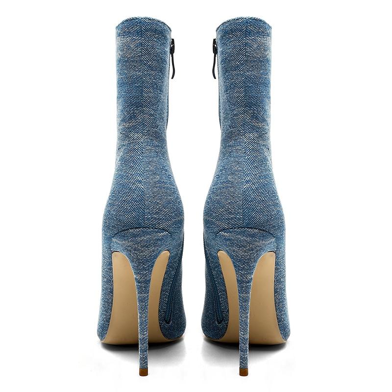 Isnom Zapatos Altos Invierno Botines 2018 Nuevos Blue Mujeres Blue Dark light Femeninos Talones Moda Tobillo Botas Caliente Felpa Finos Calzado Denim Corta aanSrqOw