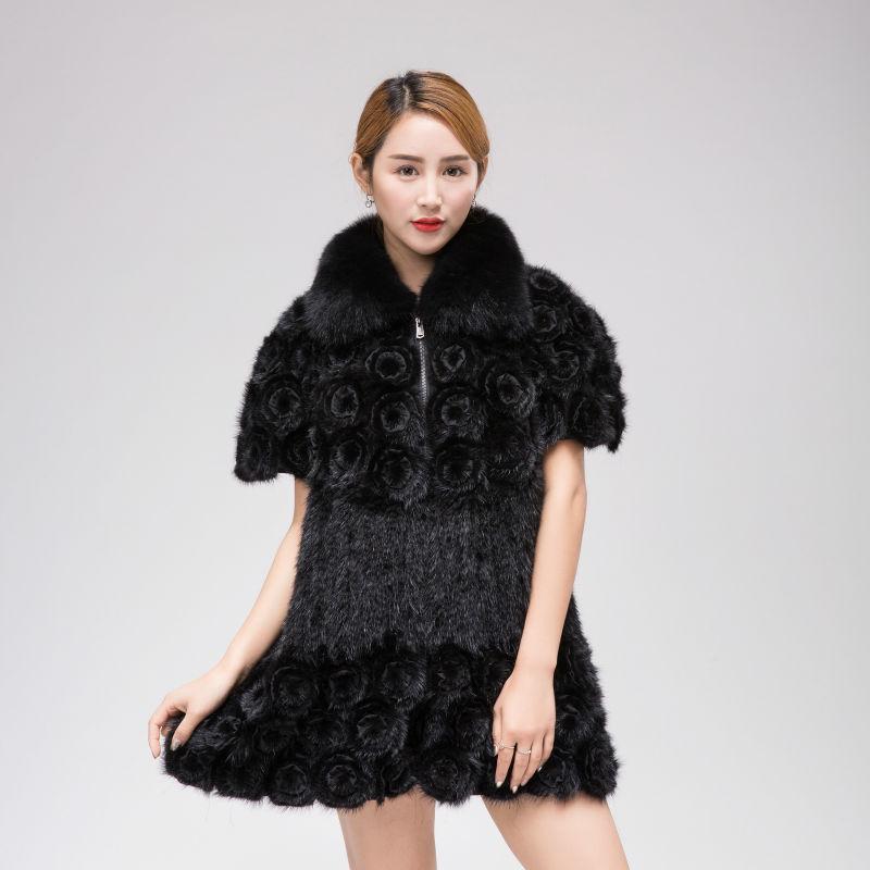 Mink Knitted Coat True Fox Collar fur coat font b Women b font winter warm knitted