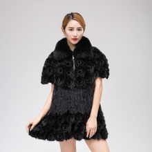 Mink Knitted Coat True Fox Collar fur coat Women winter warm knitted garment A skirt type jacket dress fashion large size