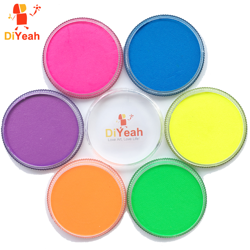 Neon Body Face Paint 6 Colors Glow Fluorescent Makeup Pigment Model Painting Body Art Tattoo for Halloween Maquiagem UV Painting halal cosmetics скраб для тела mandarin 250 мл