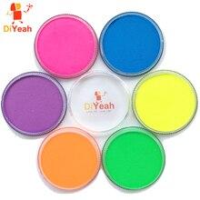 Pintura facial neon de 6 cores, pigmento de maquiagem com brilho, artístico corporal, para halloween, para maquiagem e pintura uv
