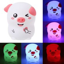 Cute Pig LED Patted Night Light Cartoon Silicone Touch Lamp Children Gifts