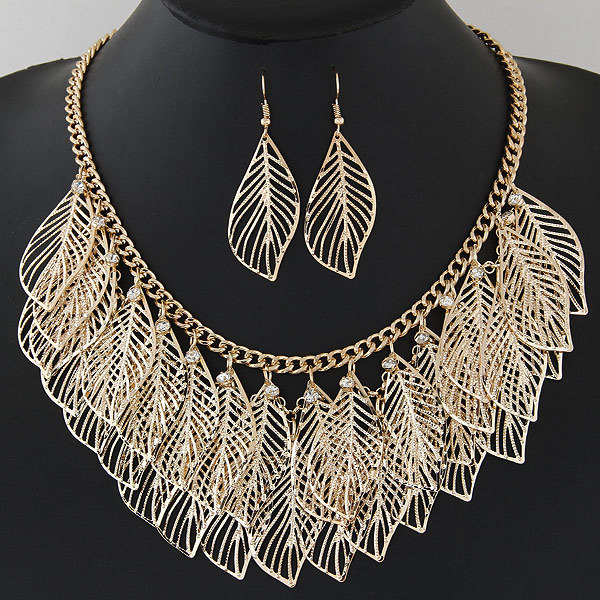 Exaggerated Gold Leaf Jewelry Set Gros Collier Femme Silver Statement Tassel Fri