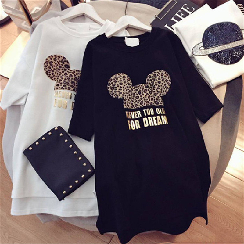 2019 Women Summer Dress Minnie Mickey Leopard Cartoon Short Sleeve Black White Casual Mini Fashion Loose Big Plus Size Dresses