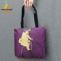 Dog And Bike Storage Bags Printed Shopping Bag Tote Convenience Women Shoulder Handbags Linen Bag For