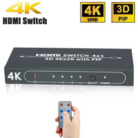 Aikexin 4Kx2K 4 Port 4x1 HDMI Switch With Picture In Picture PiP Feature And IR Wireless
