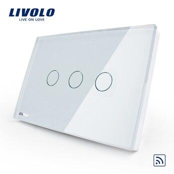 Livolo EE. UU./AU interruptor de luz táctil inalámbrico de 3 bandas, CA 110 ~ 250 V, cristal de vidrio blanco, VL-C303R-81, sin control remoto