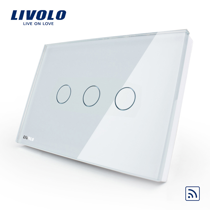 Livolo US/AU Standard 3gang Wireless remote touch light Switch, AC 110~250V, crystal white glass, VL-C303R-81,No remote controll livolo us au standard wall light touch screen switch 3gang 1way ac 110 250v vl c503 11 12
