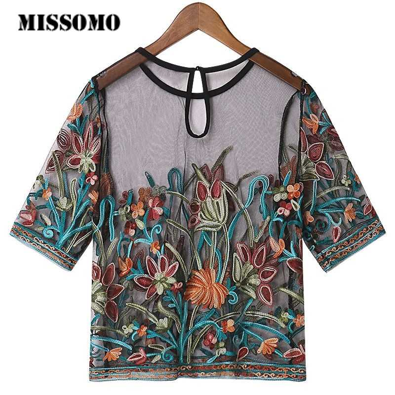 MISSOMO T shirt women tops Ladies Short Sleeve Mesh Round Neck Embroidery vintage Mesh Top summer korean clothes women tshirt 7