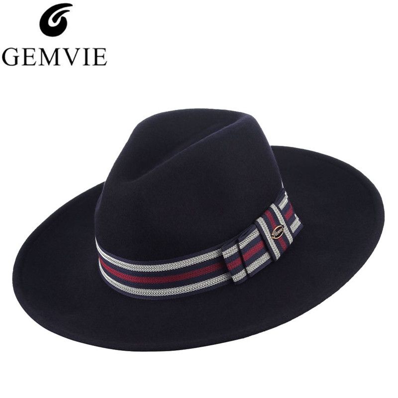GEMVIE High Quality Fedora Hat Jazz Cap For Men Women Classical Men Wide  Brim Wool Felt Hats With Box Best Gifts e995522873f0