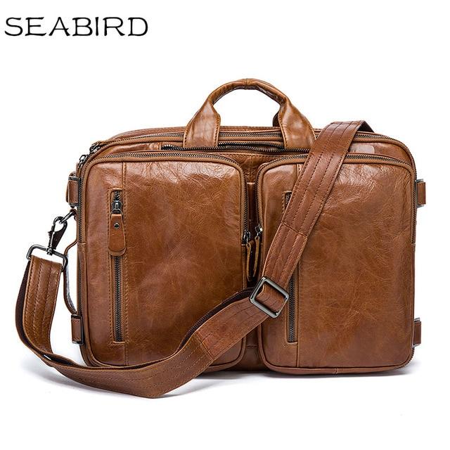 bf099e5bf1 SEABIRD 100% Genuine Leather Men Bags Fashion Man Crossbody Shoulder  Handbag Men Messenger Bags Male Briefcase Men s Travel Bag
