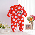 2016 Autumn Spring Wave Point Baby Fleece Pajamas Rompers One-Pieces Long Sleeve Jumpsuit Animal Baby Sleep&Play Clothes CL0886