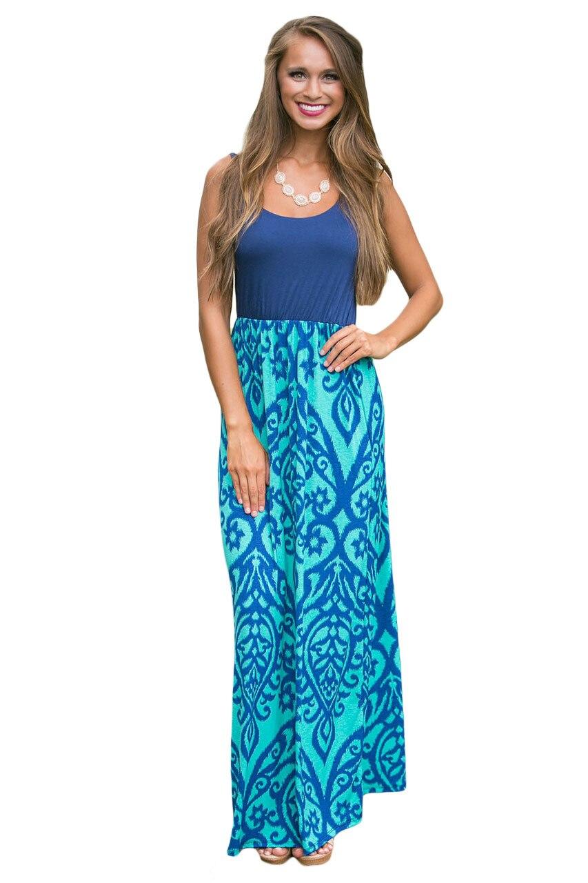 Aletterhin Women Long Boho Dresses Damask Aqua Tie Dye Print Vestido 2017 Summer Casual Robe Lady Sleeveless Maxi Dress Big Size