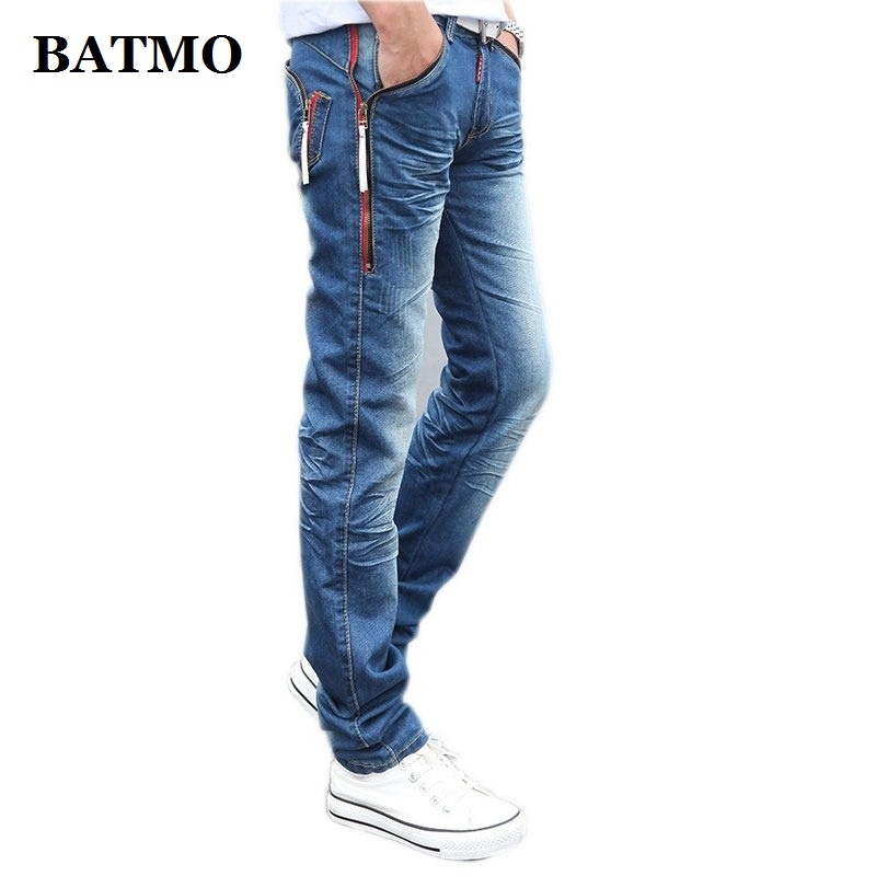 Batmo 2019 spring male Zipper pockets blue   jeans   men's clothing trend slim small trousers male casual pencil pants