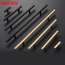NAIERDI Brushed Black Gold Straight Cupboard Handles Knobs Stainless Steel Kitchen Door Cabinet Pull