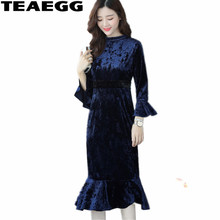 TEAEGG Ruffles Elegant Long Sleeve Dress Womens Clothing 2017 Royal Blue Womens Dresses Large Sizes Vestido