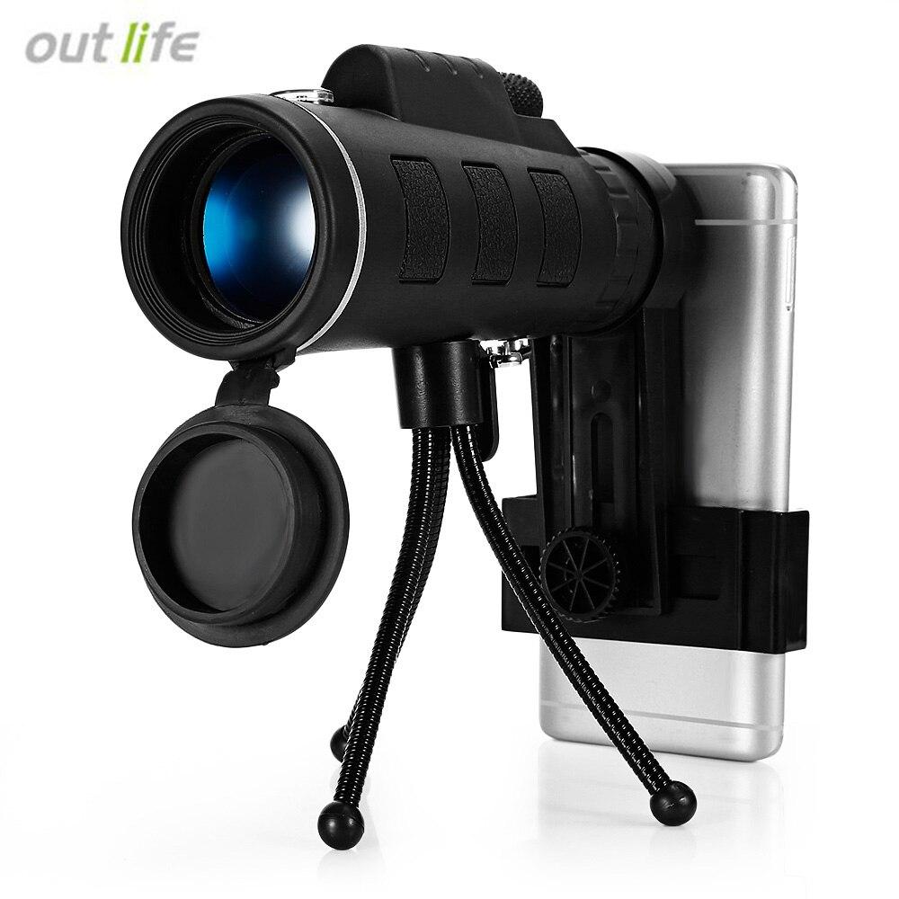 Outlife 40X60 Monocular BAK4 visión HD noche telescopio Monocular Mini Prism alcance con brújula teléfono Clip trípode