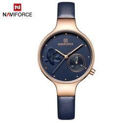 2019 NAVIFORCE для женщин золото синий кварцевые часы леди кожаный ремешок Высокое Качество Модные непромокаемые наручные Подарок для жен