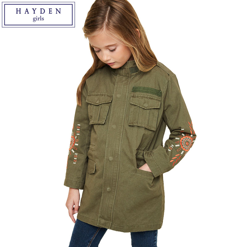 HAYDEN Girls Jacket and Coats for Spring Teenage Girl Outfits Embroidery Coat 2017 Kids Cargo Jackets Age 7 8 9 10 11 12 13 14 a15 girls jackets winter 2017 long warm duck down jacket for girl children outerwear jacket coats big girl clothes 10 12 14 year