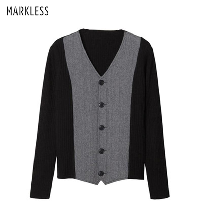 Markless 2018 Winter V-neck Wool Sweater Men Loose Casual Warm Cardigans Knitting Sweaters pull homme sueter hombre MSA2705M