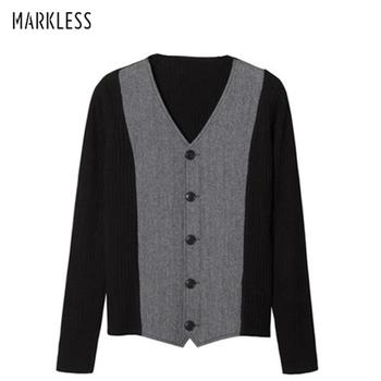 Markless 2018 Winter V-neck Wool Sweater Men Loose Casual Warm Cardigans Knitting Sweaters pull homme sueter hombre MSA2705M markless o neck sweater men 100% cotton winter warm stripe sweaters pullover men christmas pull homme sueter hombre msa3710m