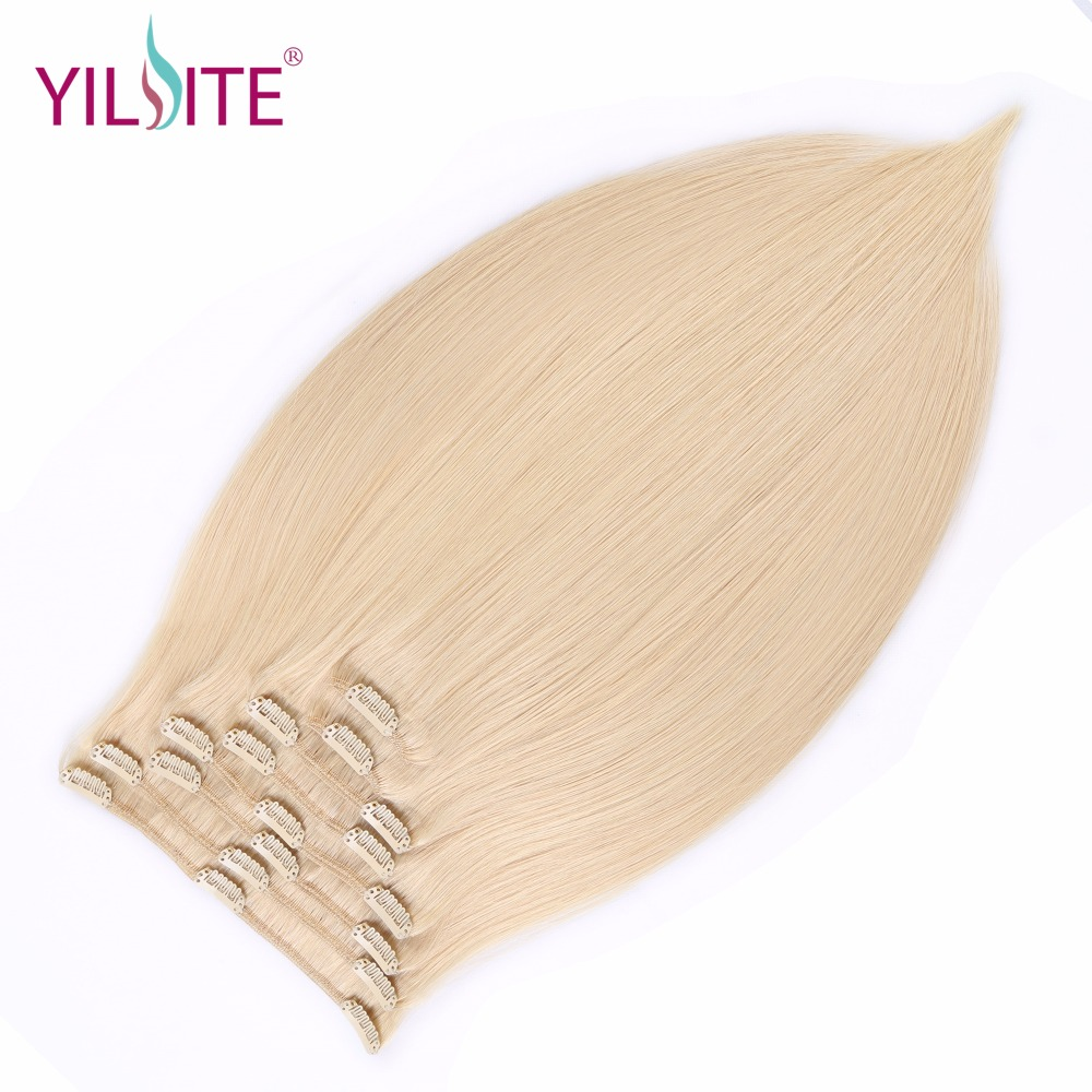 YILITE Full Head brasilianske Machine Made Remy Hair 130G Platinum - Menneskehår (hvid)