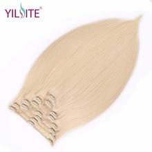 YILITE täispea Brasiilia masin Remy juuksed 130G Platinum Blond 18inch loomulik sirge klipp inimese juuste pikendamiseks