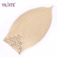 YILITE Full Head Brazilian Machine Made Remy Hair 130G Platinum Blonde 18inch Natural Straight Clip In Human Hair Extensions