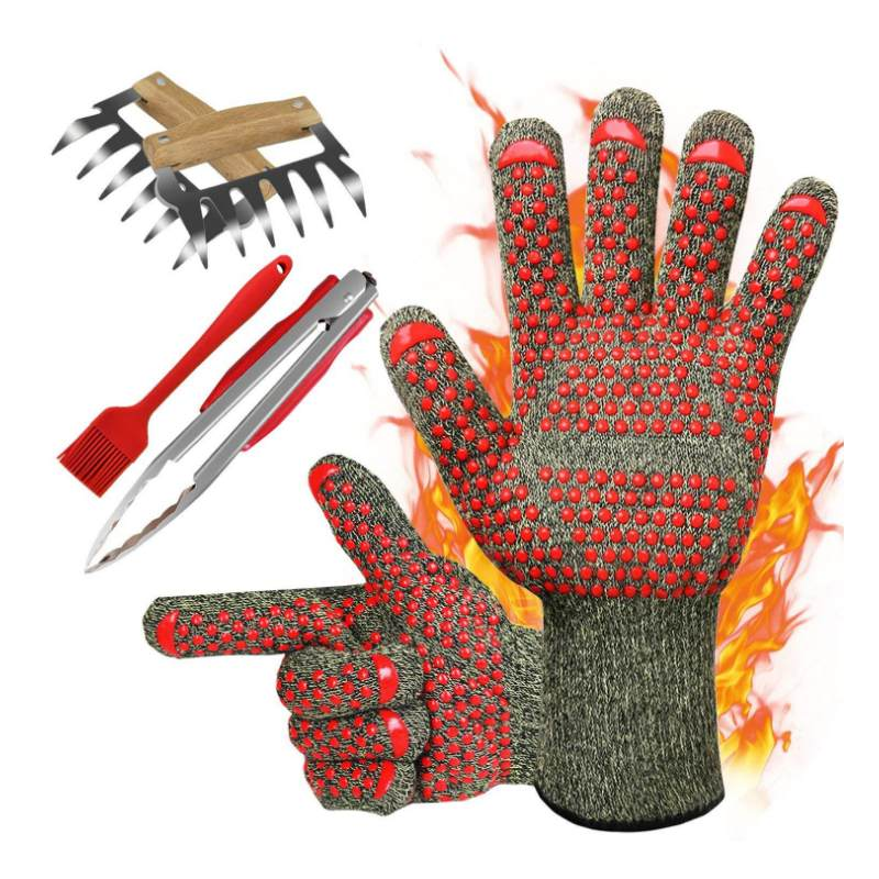 1Pcs Fire Insulation Safety Gloves Waterproof Heat Resistant Microwave Oven Outdoor Barbecue Flame Proof Working Protection Tool