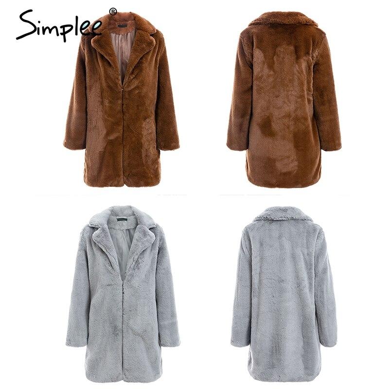 13c91b7bfc Simplee Elegant Shaggy Faux Fur Autumn Teddy Coat