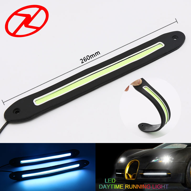 2Pcs Car LED COB Daytime Running Light Long Strip DRL Auto Fog Day Driving Lamp Ice Blue Bright 12V 2x 12v led cob auto car driving daytime running light drl fog lamp