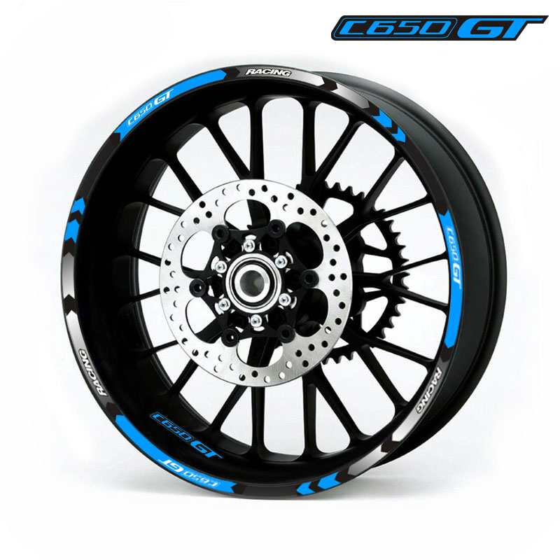Hot sell 7 Style Motorcycle Wheel Tire Rim Stickers 15inch wheel For BMW C650GT