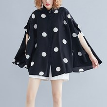 2019 Women Loose Casual Plus Size Blouse Big Size Summer Lady Polka Dot Tops Tunic Print Batwing Sleeve Shirt Female plus size polka dot floral tunic tank top