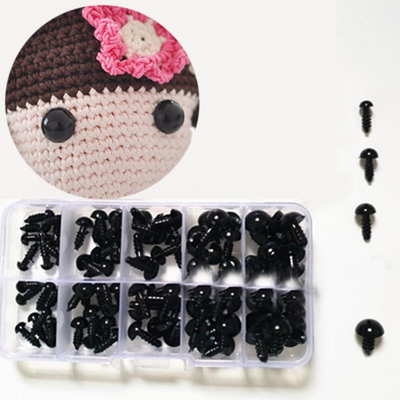 100pcs 6-12mm Black Plastic Crafts Safety Eyes for Teddy Bear Soft Toy Animal Doll Amigurumi DIY Accessories
