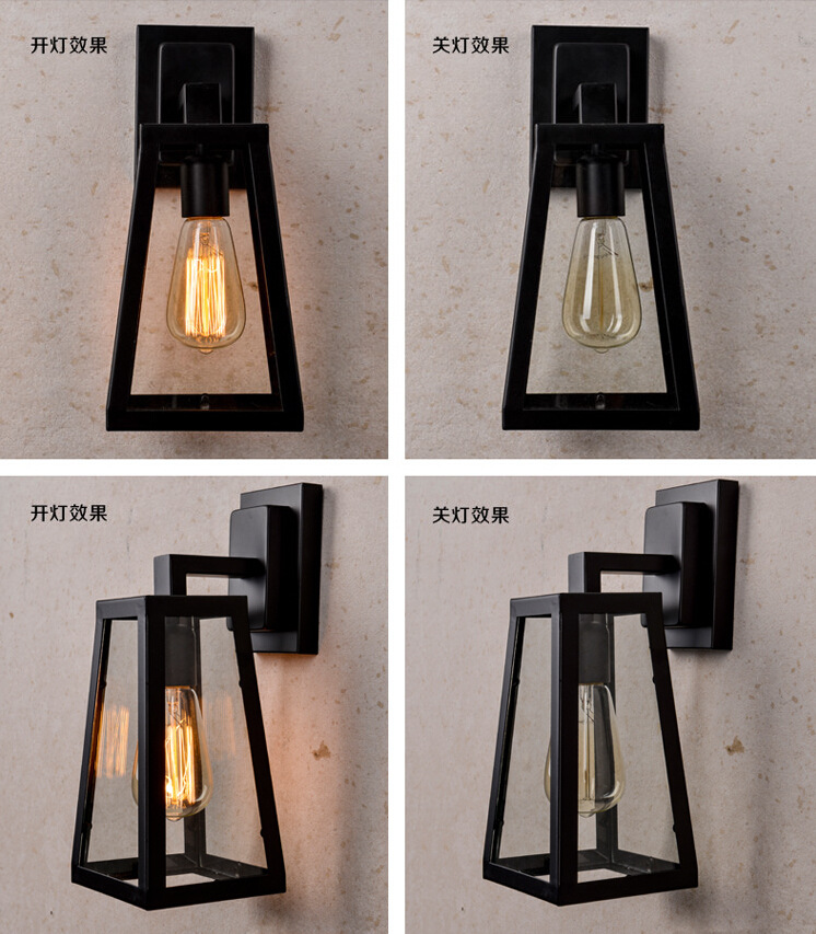 American Industrial Retro Loft Style Iron Glass Wall Lamp Creative Fashion Asile Light Bedside Light Free Shipping loft vintage industrial edison wall lamp american retro iron glass birdcage wall light bedroom bedside hall cafe store light