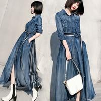 2019 Spring Summer Vintage Denim Dress Plus Size 2XL Women High Waist Single Breasted Big Swing Long Maxi Denim Jeans Dress
