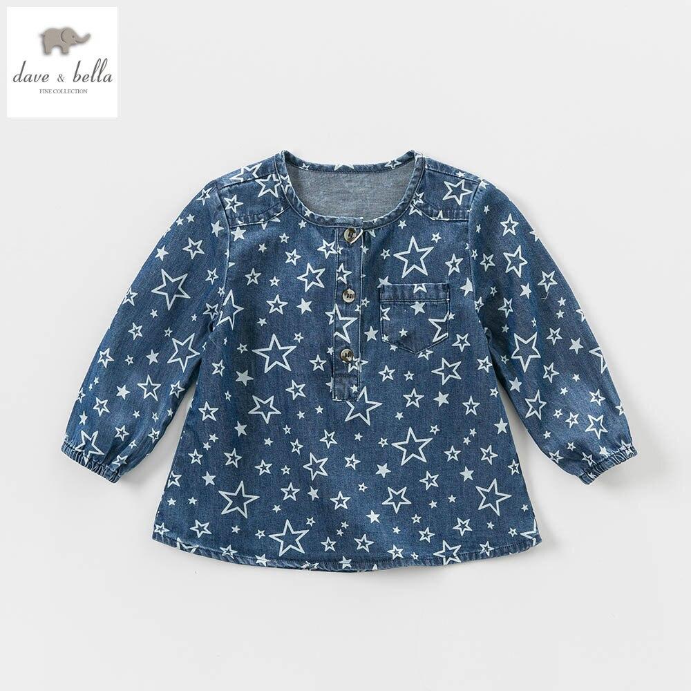 Shirt design for baby girl - Db4859 Dave Bella Baby Girls A Line Tops Star Printed Denim Blouses Design Boutique Clothes Denim