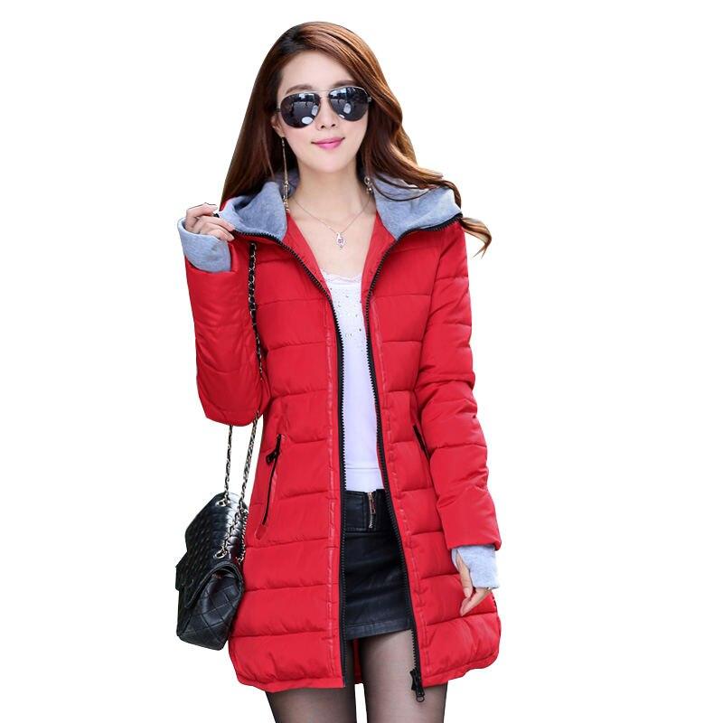 Warm Winter Jackets Women Fashion Down Cotton   Parkas   Casual Hooded Long Coat Thickening Zipper Slim Plus Size Long   Parka   C2261