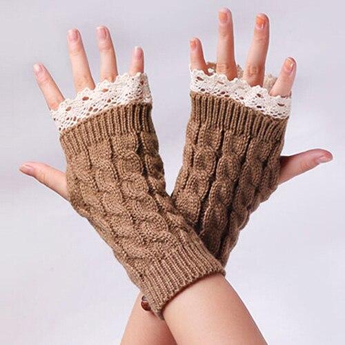 Bluelans Women Fingerless Lace Gloves Soft Knitted Warm Long Mitten Wrist Warmer Winter Gift