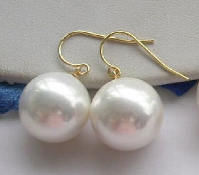10 mm Genuine Gray South Sea Shell Pearl Silver Dangle Boucles d/'oreilles AAA