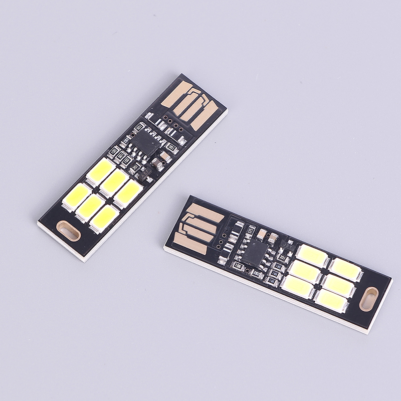 USB Power Lamp Bulb Mini Touch Dimmer Pocket Card 6 LED Keychain Night Light 1W 5V Warm Light For Power Bank Computer Laptop
