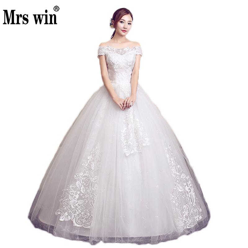 2020 New Vestido De Noiva Mrs Win Elegant Boat Neck Ball Gown Classic Embroidery Robe De Mariage Real Photo Wedding Dresses