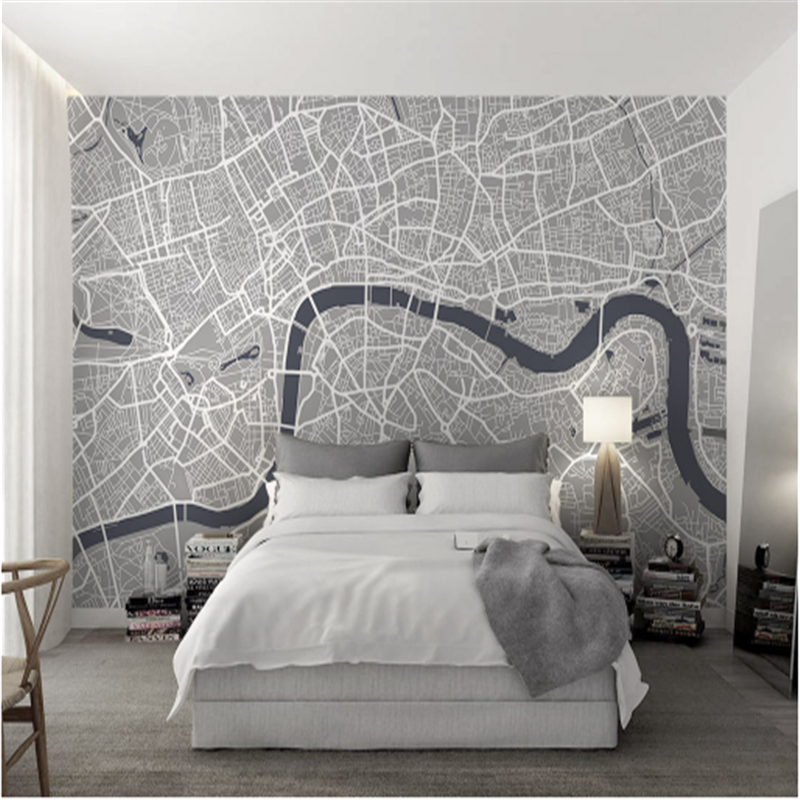 Custom European 3d Murals Map of London Line Gray Wall Papers Environment Friendly Non-Woven Embossed Study Kitchen Living Room map of fates