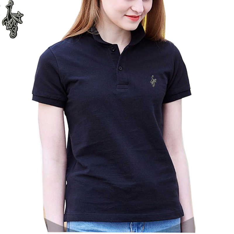 新しいコットンショートスリーブ女性孔雀ポロシャツ刺繍乗馬女性リブポロ襟尾クラシックフィット最高品質 l100